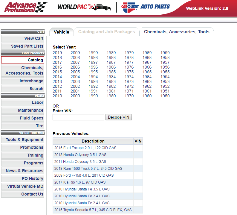 Screen shot of website for looking up make and model o vehicle and ordering replacement parts